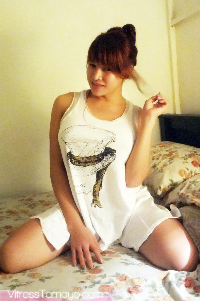 Candid photos of T-girl Vitress Tamayo waking up